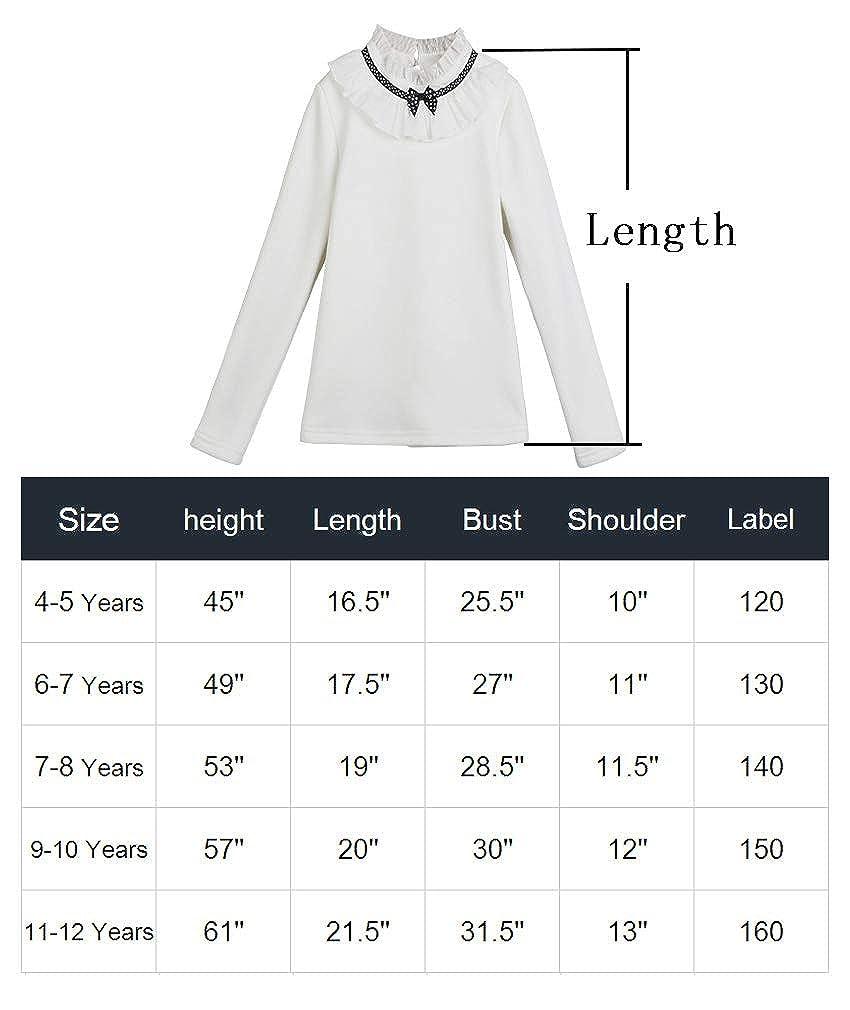 Girls Long Sleeve Cotton Shirts Fleece Lining Blouses 9-10 Years