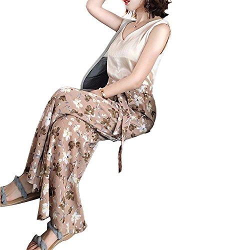 Marca Pantalone Tempo Palazzo Floreali Inclusa Mode Donna Eleganti Larghi Lunghe Di Fashion Primaverile Chiffon Rosa Pantaloni Baggy Libero Cintura Bolawoo Culotte Estivi 4q8T77
