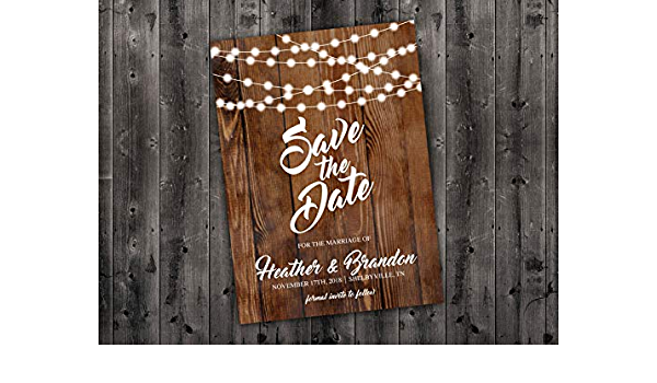 Calendar Save The Date Invitation Save the Date Printable Wood Invitation Wedding Postcard Rustic STD09 Hanging Lights Vintage