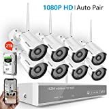 [2019 New] Security Camera System Wireless,Safevant 8CH 1080P NVR Wireless Security Camera System(2TB Hard Drive),8PCS 1080P Inddor/Outdoor IP66 Wireless Security Cameras,Plug&Play,No Monthly Fee