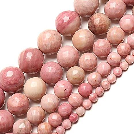 Gxbld-yy Al por mayor grandes cuentas facetadas 4-12mm rosa Rodocrosita Natural cuentas de piedra for joyería que hace bolas de bricolaje for las pulseras ( color : Rosado , Talla : 4mm about 91pcs )