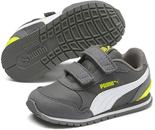 PUMA Baby ST Runner Velcro Sneaker, Castlerock White-Nrgy Yellow, 7 M US -