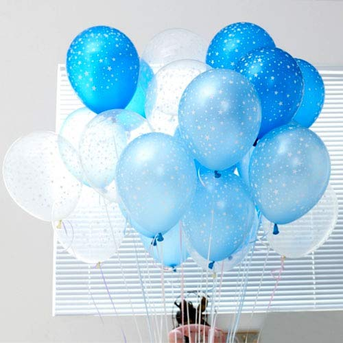 Neo LOONS Stars Around Latex Balloons, 12 inch Assorted Color Metallic Premium Latex Balloons for Birthdays Weddings Receptions Baby Showers Decorations, 30 Pcs Clear & Light Blue & Sapphire ()