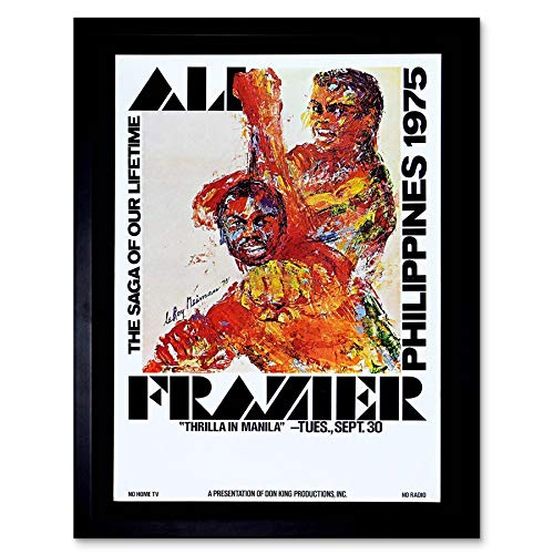 (Wee Blue Coo Sport Advert Boxing Thrilla Manila Ali Frazier Fight Philippines Art Print Framed Poster Wall Decor 12x16 inch)