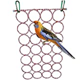 Bird Climbing Net Hammock Ladder Toy for Parrot Budgie Parakeet Cockatiel Conure Lovebird Finch Canary Cockatoo African Grey Macaw Eclectus Amazon Cage Perch Stand Oversized Swing