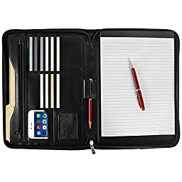 Arvada & Co PU Leather Padfolio Portfolio Zippered Professional Business Organizer with Memo Note Pad - Black