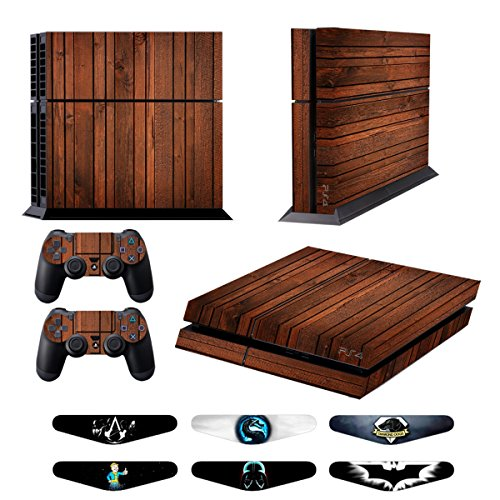 Skins for PS4 Controller - Decals for Playstation 4 Games - Stickers Cover for PS4 Console Sony Playstation Four Accessories PS4 Faceplate with Dualshock 4 Two Controllers Skin - Wooden from GameXcel