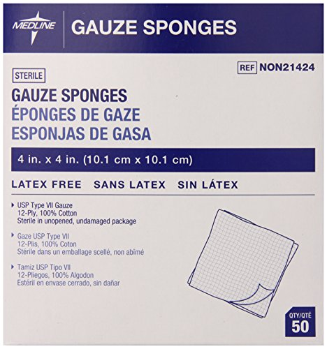 Medline Gauze Sponge Sterile 12 Ply, 50 Count