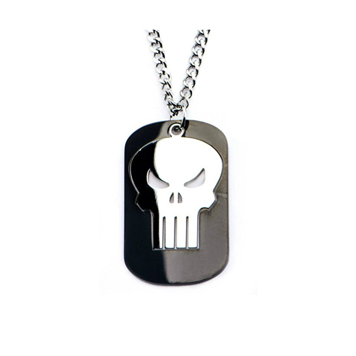 Superheroes Brand Marvel The Punisher Skull Stainless Steel Pendant Necklace w/Gift Box