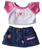 "Love T-Shirt & Jean Skirt Clothing Fits 8""-10"" Most Webkinz, Shining Star and 8""-10"" Make Your Own Stuffed Animals and"