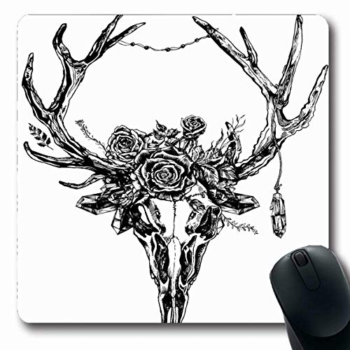Ahawoso Mousepad Oblong 7.9x9.8 Inches Doe Deer Reindeer Skull Antlers Crystals Vintage Rose Tattoo Boho Abstract Black Blackwork Design Office Computer Laptop Notebook Mouse Pad,Non-Slip Rubber