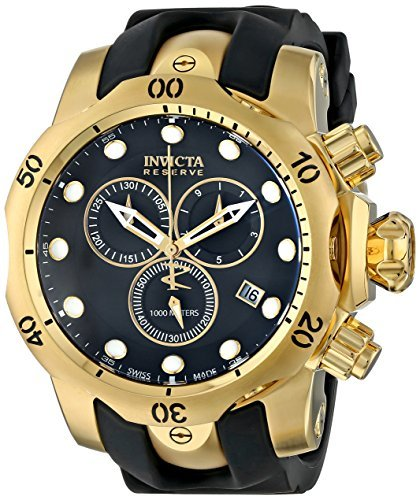 Invicta Men's 6112 Reserve Collection Subaqua Venom 18k Gold-Plated Chronograph Watch Power Reserve Rubber Strap