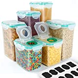Cereal Container, VERONES Airtight Storage Containers Perfect for Flour Container Dry Food Storage Containers 6 Piece 6 Size,10 Chalkboard Labels.