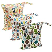 Biubee 3 Pack Wet Dry Cloth Diaper Bags - Baby Waterproof Washable Reusable Hanging Diaper Organizer (Pack of 3 New)