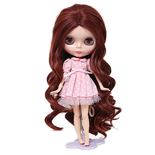Wigs Only!The 13.78 Inch Heat Resistant Long Curls Doll Hair Burgundy Body Wavy Baby Girl Blythe Pullip Doll Wig with 9.84 Inch Ball Jointed Dolls Best Gifts and Hobby for Girls