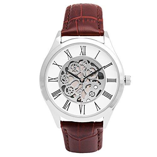 Brown Skeleton - Minimalist Wrist Watch, Skeleton Watches Japanese Quartz Movement, Men Watches (Brown)