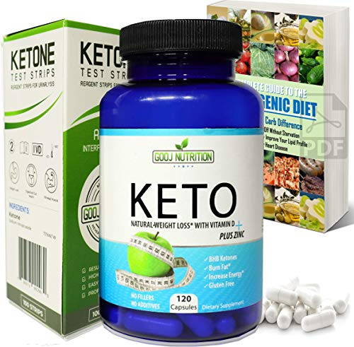Best Keto Diet Pills 120 Capsules - (Bundled) - with Ketone Test Strips- and Beginners EGuide Helps Burn Fat and Suppress Appetite That Works Fast Women and Men