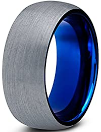 Tungsten Wedding Band Ring 8mm for Men Women Comfort Fit Blue Round Domed Brushed