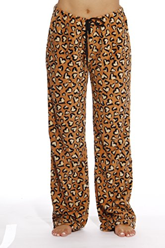 6339-10185-M Just Love Women's Plush Pajama Pants - Petite to Plus Size Pajamas,Heart Leopard Traditional,Medium (Leopard Lounge Pants)