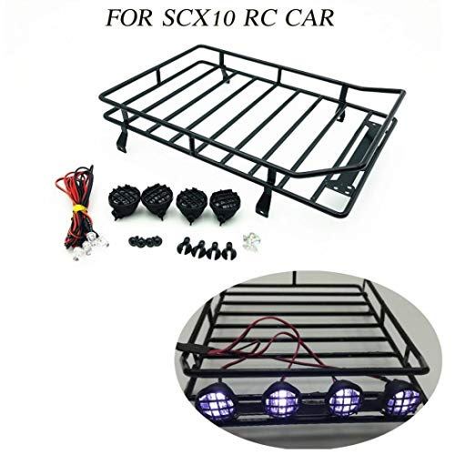 Price comparison product image Hisoul 1 / 10 RC 4WD D90 Land Rover Axial SCX10 Jeep SCX10 II 90046 Remote Control Climbing Car Cars Roof Luggage Rack 4 LED Light (Black)