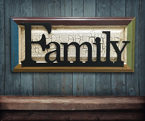 - FAMILY Sign Wood Multi Colored Frame with Metal Word Reclaimed Distressed Rustic Wall Home Decor Burgundy Red Green Blue Mustard Yellow Crackled