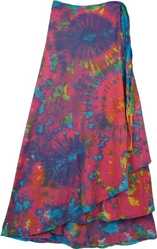 TLB Killarney Tie Dye Wrap Around Long Skirt - Blue Tie Dye - L: 37