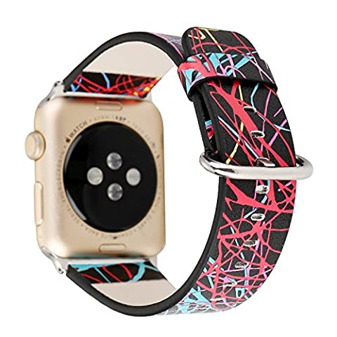 TCSHOW For Apple Watch Band 42mm,42mm Soft PU Leather Pastoral/Rural Style Replacement Strap Wrist Band with Silver Metal Adapter for both (Metal Watch Bands Replacement)