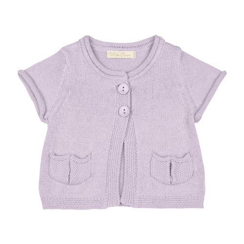 Toffee Moon Baby Girls Lavender Short Sleeve Cardigan Rolled Hem Sleeve Cotton