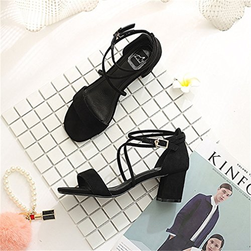 Block Toe Ankel Heel High Women Buckle Peep Cross Toe Strap Xianshu Pumps Sandals Black Open w7q4cR8