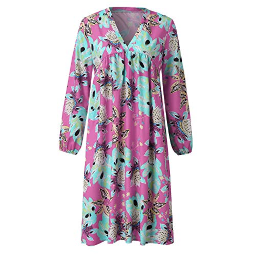 TRENDINAO Women Floral Print Dress Pleated Casual Long Sleeve V-Neck Mini Dresses for Special Occasions Pink