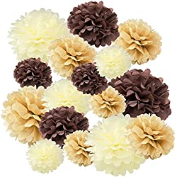 "Floral Reef Variety Set of 16 (Assorted Soft Brown Color Pack) consisting of 8"" 10"" 14"" Tissue Paper Pom Poms Flower"