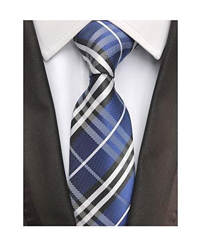 Tonal Blue Silk Tie (Elfeves Men's Modern Tartan Checks Plaid Style Formal Ties Woven Pattern Necktie (One Size, Dark blue black))