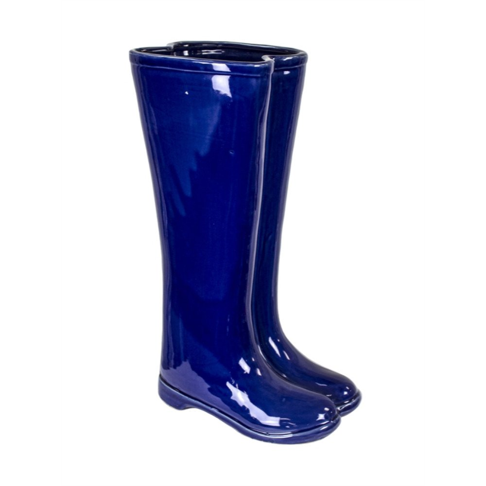 Benzara Well Designed Ceramic Boots Umbrella Stand Rack, Blue