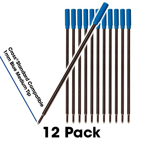 12 - Blue Cross Compatible Ballpoint Pen Refills. Smooth Writing German Ink and 1mm Medium Tip. #8511