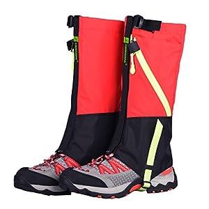 Waterproof Leg Gaiters Kid Boot Shoe Cover Ski Snow Hiking Walking Climbing Legging Outdoor for Kids (Red)