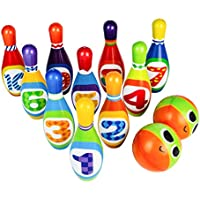 Bowling Set Toy 10 Colorful Soft Foam Bowling Pins 2 Balls Educational Development Sports Indoor Outdoor Play Game for…