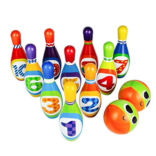 Bowling Pins Bowling Set Toy 10 Colorful Soft Foam Pins 2 Balls Educational Development Sports Indoor Outdoor Play Game for Kids Children Toddlers Boys Girls -