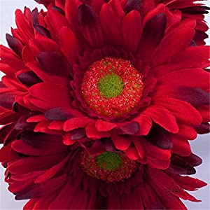 S.Ena 1 Branch 1 Head Artificial Silk Fake Flowers Gerbera Daisy Wedding Floral Home Decor Bouquet Birthday Party DIY, Pack of 14 (Red) 3