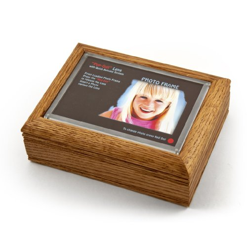 4'' X 6'' Oak Photo Frame Music Box With New Pop-Out Lens System - When I Fell in Love - SWISS by MusicBoxAttic