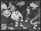 Poker game of construction workers at canteen. Shasta Dam, Shasta County, California