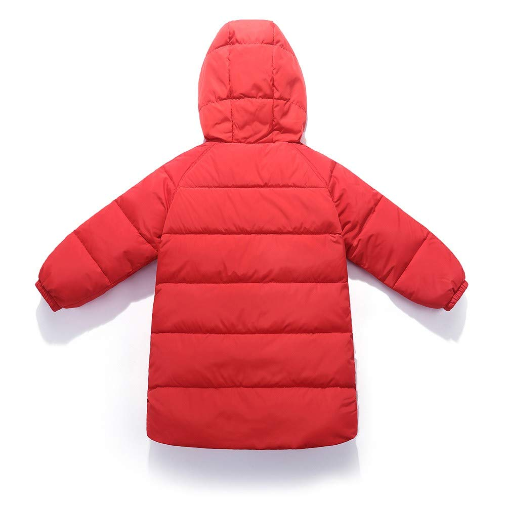 Dream/_mimi Children Long Sleeve Solid Color Winter Warm Cotton Hooded Long Down Jacket