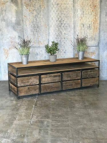 TV Console/Credenza, 8 Crate - Custom Made Crate Furniture (Cola Coca Crate Wooden)