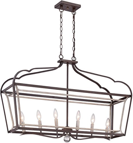 Minka Lavery 4346-593 Astrapia Large Linear Island Pendant Ceiling Lantern Lighting, 6 Light, 360 Watts, Dark Rubbed Sienna (Chandelier Transitional Linear)
