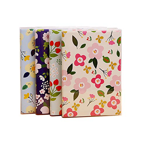 4-Pack, B6 Notebook, Happy Planner, 64 Wide Ruled Pages + 32 Monthly & Weekly Undated Planner Pages for Budget Wedding Daily Life Agenda, 5X7 Planning Pads, PP Cover Personal Organizers, Cute Floral