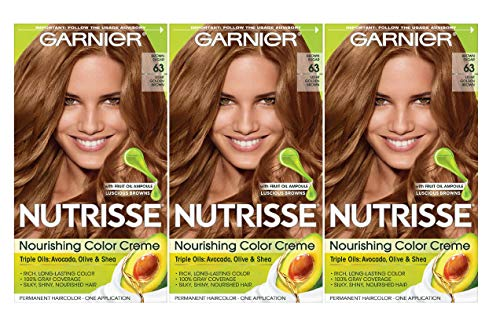 Garnier Nutrisse Nourishing Hair Color Creme, 63 Light Golden Brown (Brown Sugar), 3 Count (Packaging May Vary)