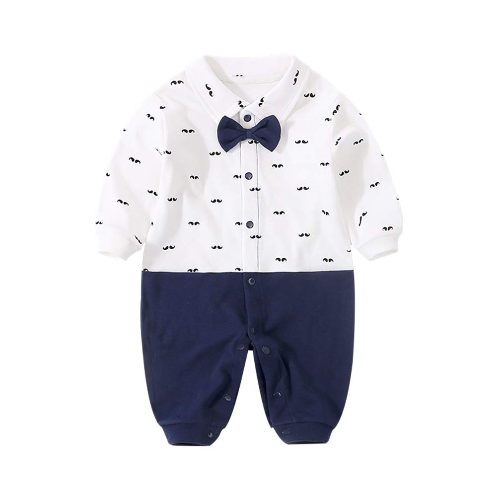 20e1cb1d3 Amazon.com: GORBAST Newborn Baby Boys' Gentleman Romper Clothes Suit Long  Sleeve Jumpsuit Outfit with Bow Tie: Clothing
