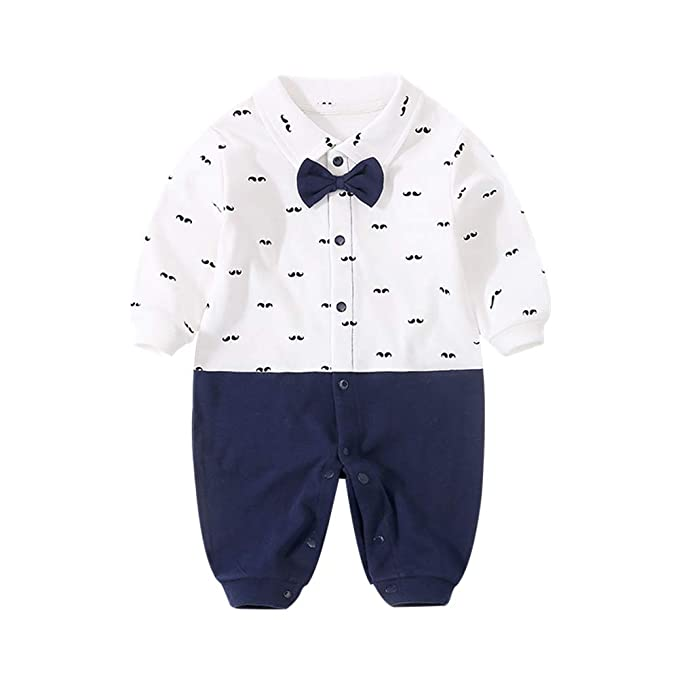 37edca0c5e09f GORBAST Newborn Baby Boys' Gentleman Romper Clothes Suit Long Sleeve  Jumpsuit Outfit with Bow Tie