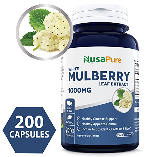 (Best White Mulberry Leaf Extract 1000mg 200 Capsules (No Fillers, Non-GMO & Gluten Free) Natural High & Low Blood Sugar Control, Weight Loss Support - 100% Money Back)