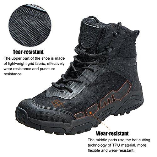 FREE SOLDIER pour Homme Mid Haute durabilité Lacets Bottes Durable Imperméable Armée Combat Chaussures Respirant… 3
