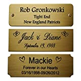 """Size: 3"""" W x 1"""" H, Personalized, Custom Engraved, Brushed Gold Solid Brass Plate Picture Frame Name Label Art Tag for Frames, with adhesive backing or screws"""